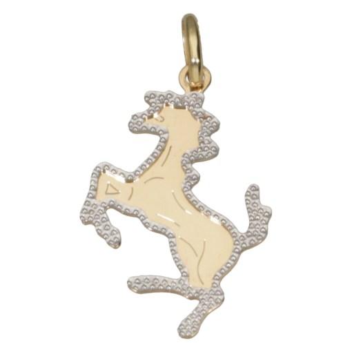 Ciondolo cavallino oro giallo martellato 1