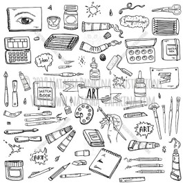 Art. Hand Drawn Doodle Art and Craft Tools Icons Set - Natasha Pankina Illustrations