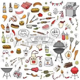 BBQ. Hand Drawn Doodle BBQ Party Colorful Icons Set. - Natasha Pankina Illustrations