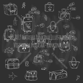 Baggage. Hand Drawn Doodle Emoji Icons Collection. Chalkboard style. - Natasha Pankina Illustrations