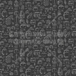 Baggage. Hand Drawn Doodle Traveling Icons Collection. Seamless background. Unseamed pattern. Chalkboard style. - Natasha Pankina Illustrations