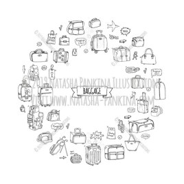 Baggage. Hand Drawn Doodle Traveling Icons Collection. Wreath shaped. Ring shape. With place for your text. - Natasha Pankina Illustrations