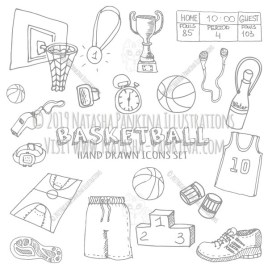 Basketball. Hand Drawn Doodle Sport Icons Set - Natasha Pankina Illustrations