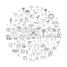 Beach. Hand Drawn Doodle Vacation Icons Collection. Round shape. Circle shaped. - Natasha Pankina Illustrations