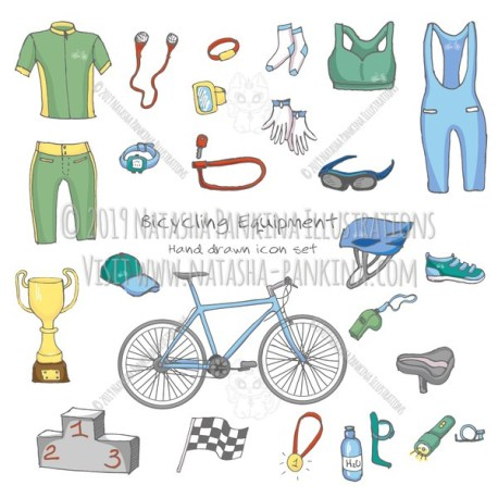 Bicycle Equipment. Hand Drawn Doodle Bicycling Colorful Icons Collection. - Natasha Pankina Illustrations