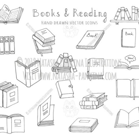 Books. Hand Drawn Doodle Reading Icons Set - Natasha Pankina Illustrations