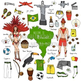 Brazil. Hand Drawn Doodle Brazilian Icons Collection. - Natasha Pankina Illustrations