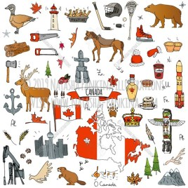 Canada. Hand Drawn Doodle Canadian Colorful Icons Collection. - Natasha Pankina Illustrations