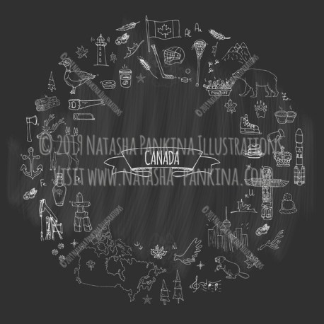 Canada. Hand Drawn Doodle Canadian Icons Collection. Wreath shaped. Ring shape. With place for your text. Chalkboard style. - Natasha Pankina Illustrations