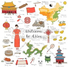 China. Hand Drawn Doodle Chinese Colorful Icons Collection. - Natasha Pankina Illustrations