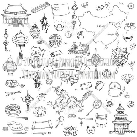 China. Hand Drawn Doodle Chinese Icons Collection. - Natasha Pankina Illustrations