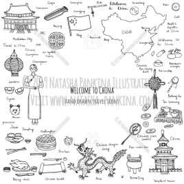 China. Hand Drawn Doodle Chinese Icons Collection. Contour shape. Outlined. With place for your text. - Natasha Pankina Illustrations
