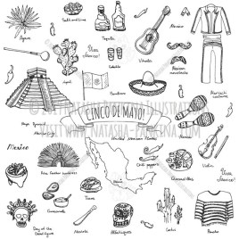 Cinco De Mayo. Hand Drawn Doodle Mexican Icons Collection. - Natasha Pankina Illustrations