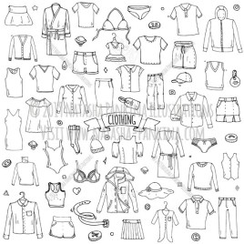 Clothing. Hand Drawn Doodle Apparel Icons Collection. - Natasha Pankina Illustrations