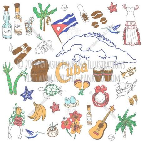 Cuba. Hand Drawn Doodle Cuban Icons Collection. - Natasha Pankina Illustrations