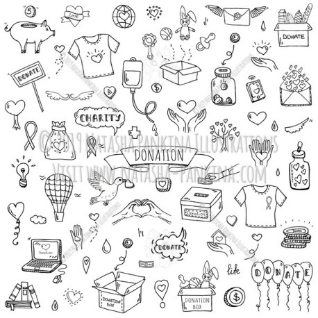 Donation. Hand Drawn Doodle Charity Icons Collection. - Natasha Pankina Illustrations