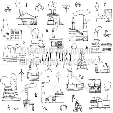 Factory. Hand Drawn Doodle Industrial Factory Icons Collection. - Natasha Pankina Illustrations