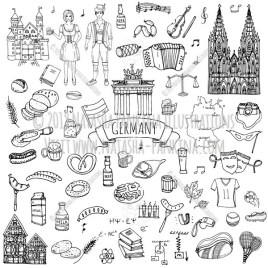 Germany. Hand Drawn Doodle German Icons Collection. - Natasha Pankina Illustrations