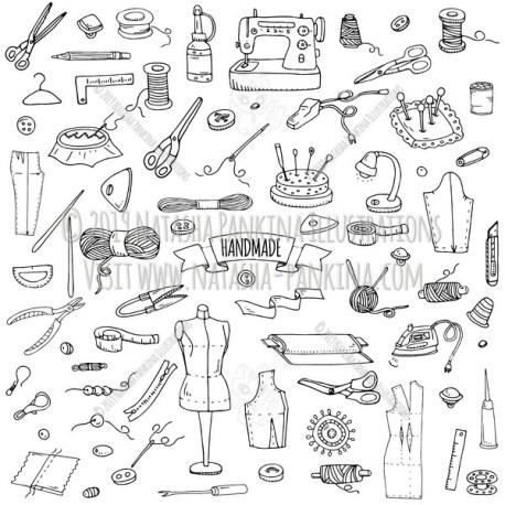 Handmade. Hand Drawn Doodle Sewing Icons Collection. - Natasha Pankina Illustrations