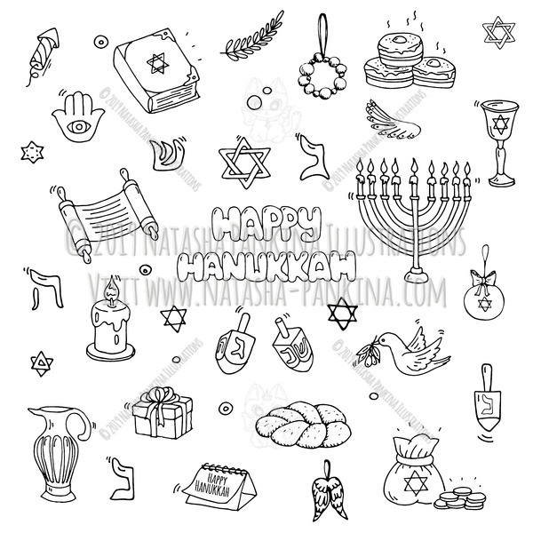 Hanukkah. Hand drawn doodle Happy Hanukkah icons collection. - Natasha Pankina Illustrations