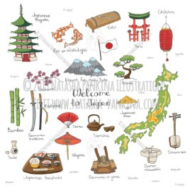 Japan. Hand Drawn Doodle Japanese Colorful Icons Collection. - Natasha Pankina Illustrations