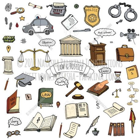 Law and Justice. Hand Drawn Doodle Crime Investigation Icons Collection. - Natasha Pankina Illustrations