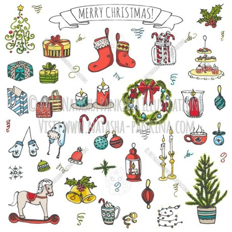 Merry Christmas. Hand Drawn Doodle New Year Collection Colorful Icons Collection. - Natasha Pankina Illustrations