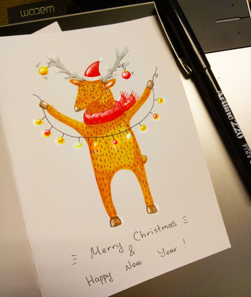Christmas Deer holding Christmas garland with lights wearing Sants's hat and red scarf, made using raw materials such as: watercolor, ink, pencils  keywords: abstract, animal, antlers, art, bells, cartoon, christmas, christmas deer, cute, decorative, deer, deer antlers, deer head, deer isolated, deer logo, design, doodle, element, elk, forest, freehand drawing, funny, graphic, graphic design, hand drawn, horn, identity, illustration, isolated, logo, mammal, merry christmas, moose, natural, nature, object, outlined, postcard, reindeer, santa claus, scarf, shape, silhouette, sketch, stag, symbol, triangle, watercolor, white background, wild  illustrator: Copyright © 1984-2020 Natasha P, (me@natasha-pankina.com), www.natasha-pankina.com, All Rights Reserved, Used With Permission https://store.natasha-pankina.com/copyright-notice-per-image-metadata/