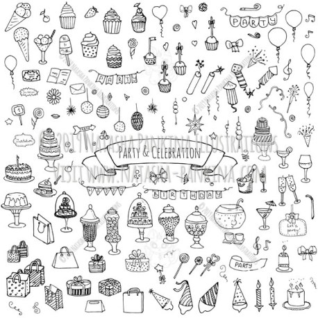 Party. Hand Drawn Doodle Celebration Icons Collection. - Natasha Pankina Illustrations