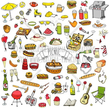 Picnic. Hand Drawn Doodle Food Colorful Icons Collection. - Natasha Pankina Illustrations
