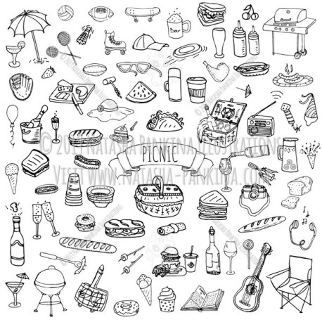 Picnic. Hand Drawn Doodle Food Icons Collection. - Natasha Pankina Illustrations