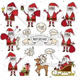 Santa Claus. Hand Drawn Doodle Merry Christmas and New Year Colorful Collection. - Natasha Pankina Illustrations