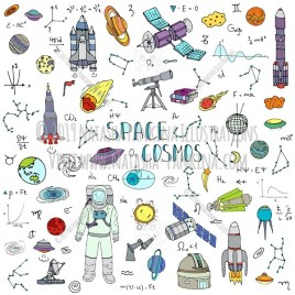 Space. Hand Drawn Doodle Cosmos Colorful Icons Collection. - Natasha Pankina Illustrations