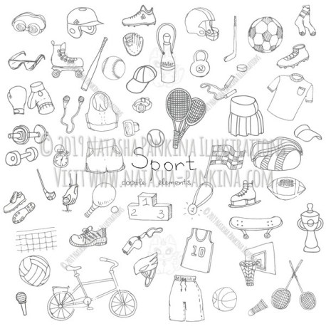 Sport Equipment. Hand Drawn Doodle Sport Icons Collection. - Natasha Pankina Illustrations