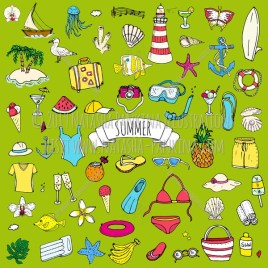 Summer. Hand Drawn Doodle Summer Related Colorful Icons Collection. - Natasha Pankina Illustrations