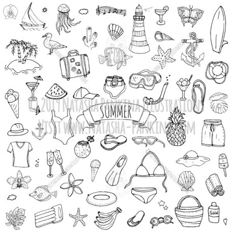 Summer. Hand Drawn Doodle Summer Related Icons Collection. - Natasha Pankina Illustrations