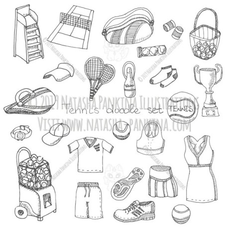 Tennis Equipment. Hand Drawn Doodle Sport Icons Collection. - Natasha Pankina Illustrations