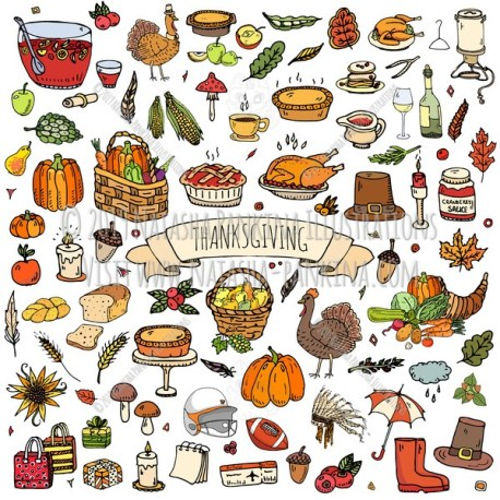 Thanksgiving. Hand Drawn Doodle Autumn Colored Icons Collection. - Natasha Pankina Illustrations