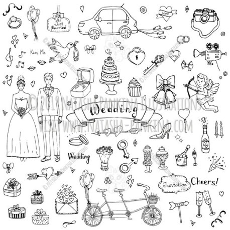 Wedding. Hand Drawn Doodle Marriage Icons Collection. - Natasha Pankina Illustrations