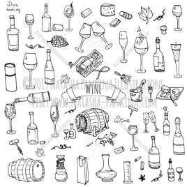 Wine and Cheese. Hand Drawn Doodle Alcohol Icons Collection. - Natasha Pankina Illustrations