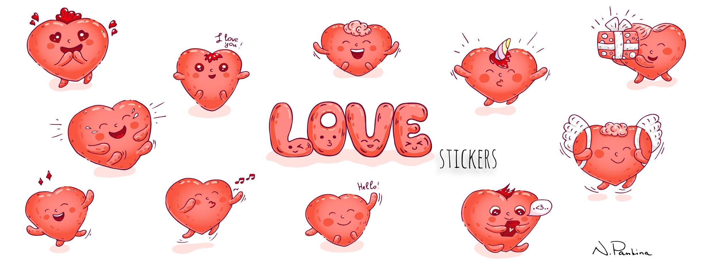description: Love stickers in cute kawaii style  keywords: design element, doodle, freehand drawing, hand drawn, icon set, illustration, outlined, sign, sketch, symbol, vector, vector icons, vector elements, icon collection, graphic, design, love, heart, banner, object, concept, holiday, web background, song, greeting, elegant, texture, happy valentines day, valentine, music, typography card, romantic, kawaii, emoji, cute  illustrator: Natasha Pankina Natasha Pankina