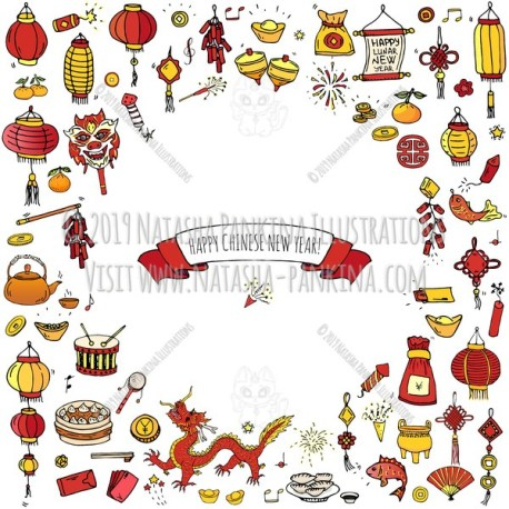 Chinese New Year. Hand Drawn Doodle Chinese Colorful Icons Set. Contour shape. Outlined. With place for your text. - Natasha Pankina Illustrations