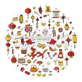 Chinese New Year. Hand Drawn Doodle Chinese Colorful Icons Set. Round shape. Circle shaped. - Natasha Pankina Illustrations