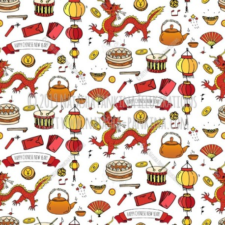 Chinese New Year. Hand Drawn Doodle Chinese Colorful Icons Set. Seamless background. Unseamed pattern. - Natasha Pankina Illustrations
