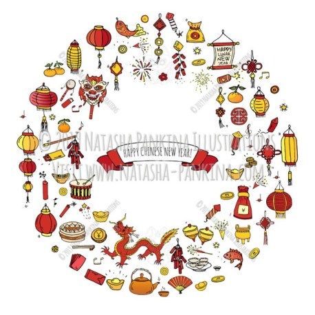 Chinese New Year. Hand Drawn Doodle Chinese Colorful Icons Set. Wreath shaped. Ring shape. With place for your text. - Natasha Pankina Illustrations