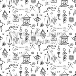 Chinese New Year. Hand Drawn Doodle Chinese Icons Set. Seamless background. Unseamed pattern. Chalkboard style. - Natasha Pankina Illustrations