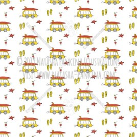 Hawaii. Hand Drawn Doodle USA State Icons Collection. Hawaiian surfing vacation. Seamless background. Unseamed pattern. - Natasha Pankina Illustrations