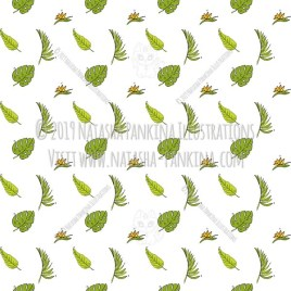 Hawaii. Hand Drawn Doodle USA State Icons Collection. Tropical leaves and flowers. Seamless background. Unseamed pattern. - Natasha Pankina Illustrations