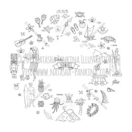 Hawaii. Hand Drawn Doodle USA State Icons Collection. Wreath shaped. Ring shape. With place for your text. - Natasha Pankina Illustrations