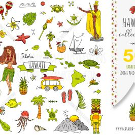 description: Hand drawn Hawaii set. Vector illustration. Sketchy isolated icons. Collection of hawaiian symbols. For instance: Honolulu, Hula girl, Surfing guy and Volcano. Cartoon elements, such as: USA state map, Guitar and Paradise flower. keywords: aloha, america, background, bay, beach, beautiful, black, caribbean, cartoon, cruise, design element, doodle, element, exotic, fashion, forest, freehand drawing, geometric, graphic design, hand drawn, hawaii, hawaiian, holiday, icon, icon set, illustration, isolated, leaf, nature, object, organic, outlined, palm, palm tree, paradise, pattern, repeat, scrapbook, sketch, symbol, textile, texture, travel, tree, tropical, USA, vector illustrator: Natasha Pankina Natasha Pankinahttps://store.natasha-pankina.com/copyright-notice-per-image-metadata/